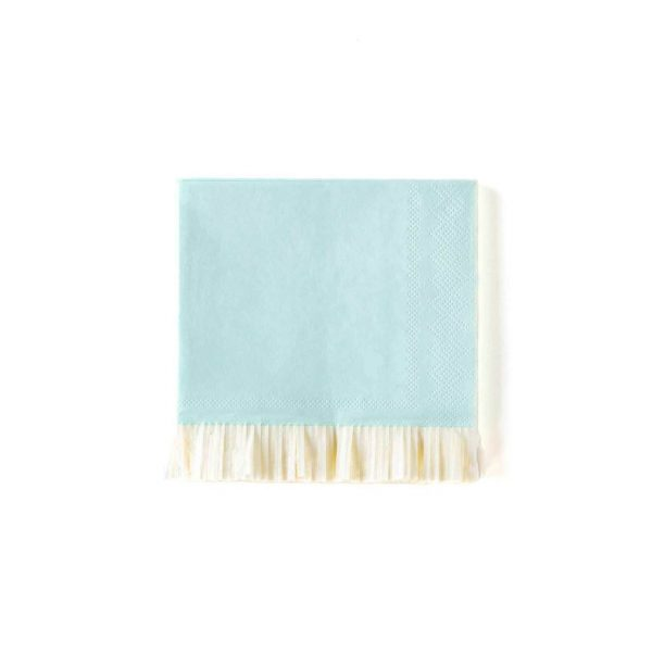 blue fringed cocktail napkins perfect for a baby boy shower or little boy first birthday