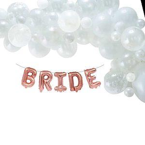 BRIDE rose gold letter balloon garland
