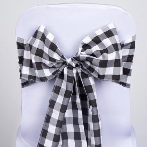 black and white chair sash