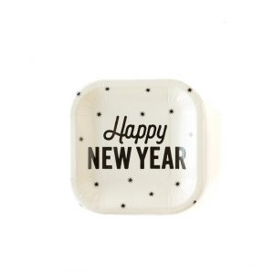 Happy New Year plates - disposable paper plates in ivory with black writing and celestial stars