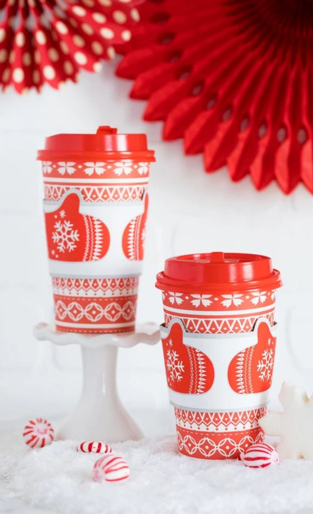 Hot Cocoa Bar Cups - Sweater Weather Cups for Coffee and Hot Beverages at Christmas and holiday gatherings