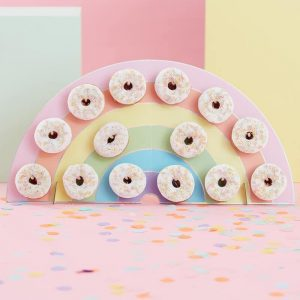 Rainbow Party Donut wall stand with pink donuts