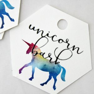 Unicorn Bark tags to make DIY party favors for your unicorn or rainbow party. Script font unicorn bark with a watercolor unicorn silhouette.