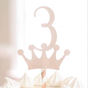 3rd birthday crown topper in rose gold - third birthday princess