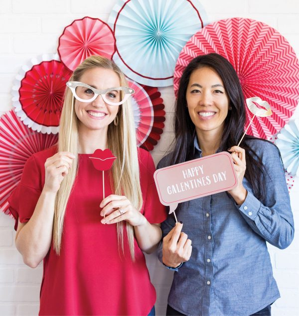 Galentine's Day Photo Props and backdrop fans