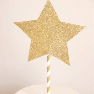 gold glitter star cake topper