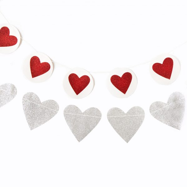 Silver Heart Banner and Red and White Hearts