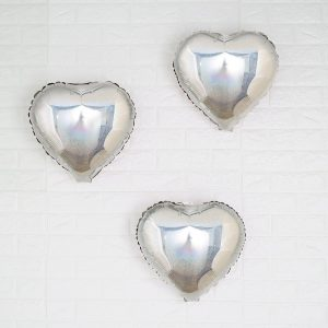 Silver Heart Ballon 15 inch for a Baby & Co or Bride and Co shower