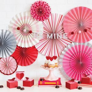 Valentine's Day Be Mine Pom Pom Garland and Paper Backdrop Fans