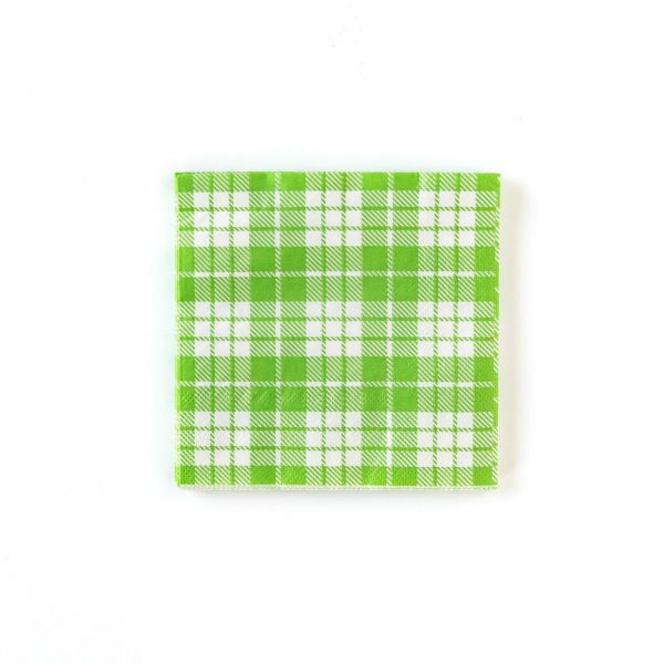 Derby Party Green Plaid napkin in a bright spring green