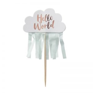 Hello World Cupcake topper for a gender neutral baby shower in mint