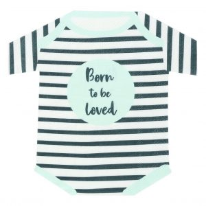 born to be loved onesie napkin in black and mint stripes