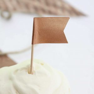Rustic Copper Cupcake Toppers - flag shape perfect for weddings and engagement parties