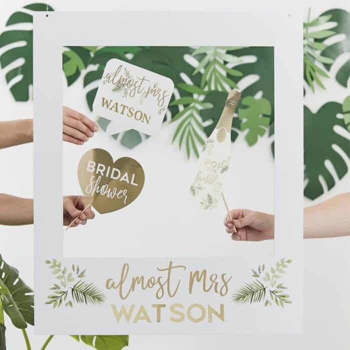 Almost Mrs. Bridal Shower Polaroid Frame Cutout tropical or winter botanical style