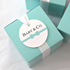 Baby and Co Favor Tags and Robins Egg Blue Tiffany Blue favor boxes for a Baby Shower