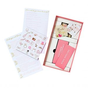 Bridal shower game set for a fun bridal shower ice breaker