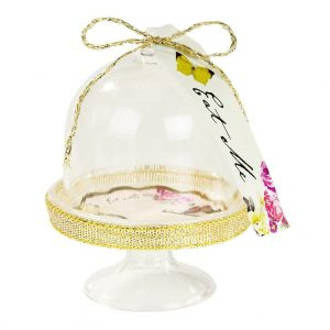 gold accent mini dessert stands clear domes for maracons or chocolates.