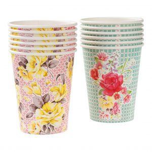 Floral Paper Cups for a Tea Party