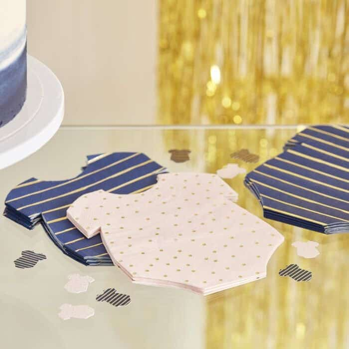 navy and blush with gold polka dot and stripes napkins.  Perfect for a gender neutral or gender reveal party.