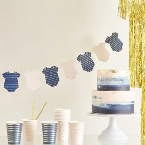 navy and blush baby shower banner