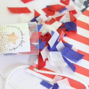 Red white and blue confetti poppers