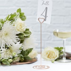 Rose gold table numbers and stands