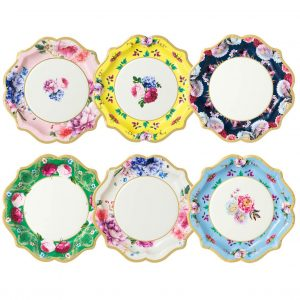 Tea Party paper plates for a fun Easter Brunch or bridal shower party