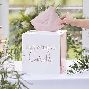 Rose gold wedding card box.