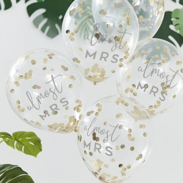 Almost Mrs. Gold Confetti Bridal Shower Balloons