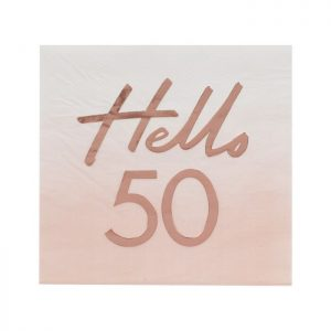 Hello 50 - 50th Birthday Party Supplies in Rose Gold and Blush