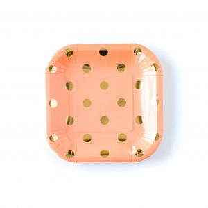 Peach with Gold Polka Dot Paper Plates