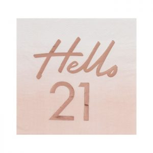 Hello 21 Napkins - blush pink napkins with rose gold foil writing from Ginger Ray