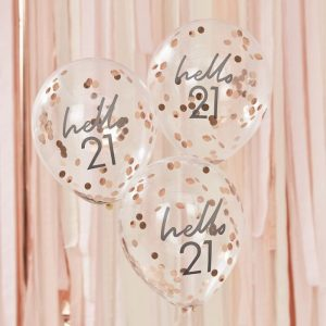 hello 21 balloons for a 21st birthday clear balloons with grey writing filled with rose gold confetti