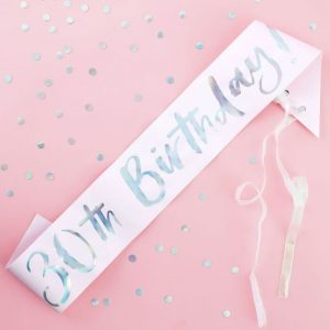 30th birthday sash - blush pink with iridescent lettering that says 30th birthday