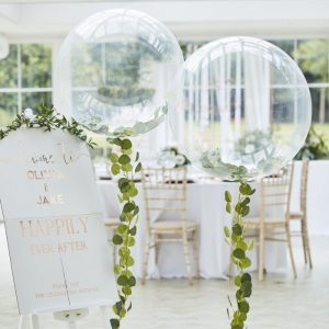 Clear Orb balloon with Eucalyptus balloon tail