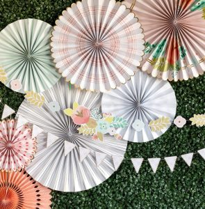 Tea party backdrop fans and felt banner for a beautiful event, Mother's Day or Easter Party Floral tea party pennant banner
