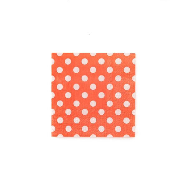 Peach with white polka dot cocktail napkins that are perfect for a garden tea party