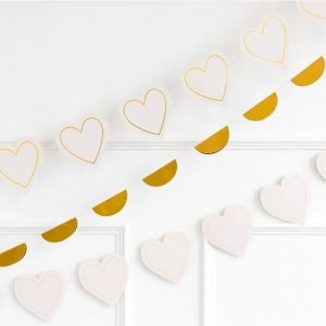 Gold and Cream Heart Garland for a bridal shower or baby shower