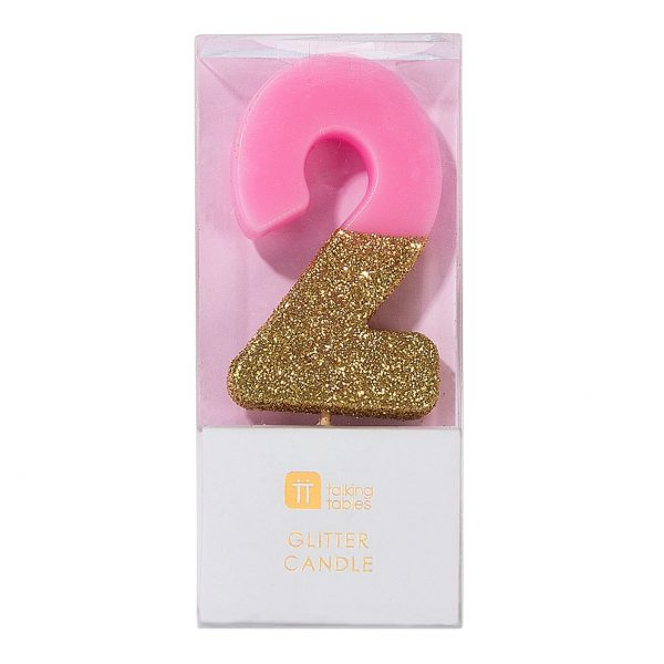 Pink and Gold number 2 candles