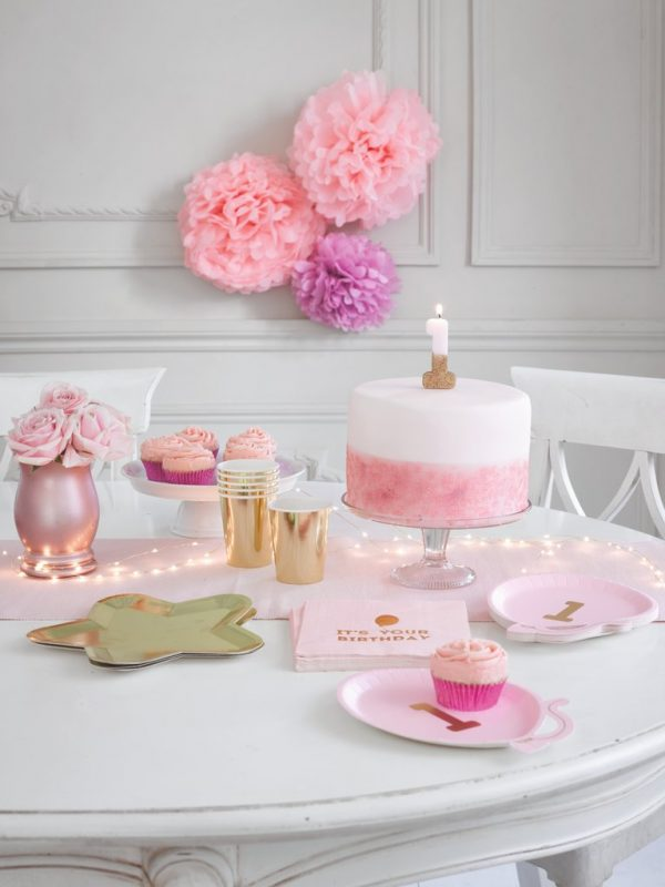 Pink and gold first birthday candle
