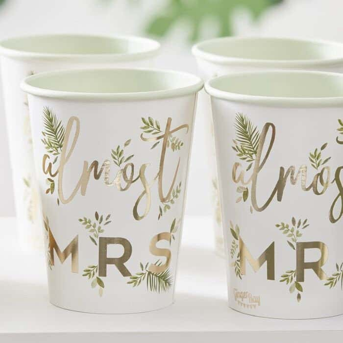 Almost Mrs. Bridal Shower cups with palm leaves and gold Almost Mrs. Lettering perfect for hot or cold beverages