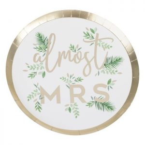 Almost Mrs. Bridal Shower plates with botanical and tropical elements with gold lettering