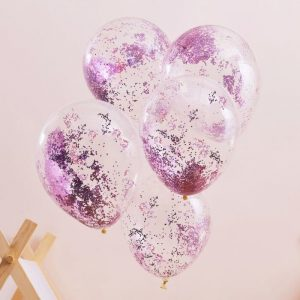 Hot Pink Glitter Balloons for a Pamper Party or Sleepover