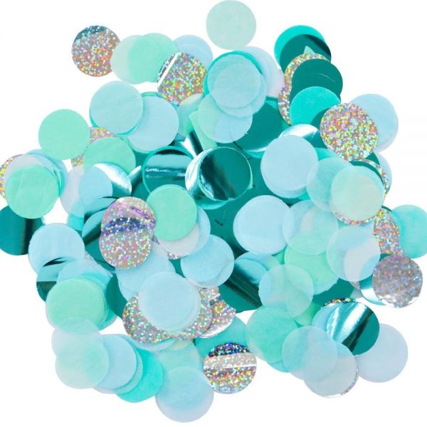 Ocean blue mint silver confetti for a mermaid party