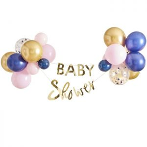 Navy and blush baby shower decorations - balloon garland with gold baby shower bunting included