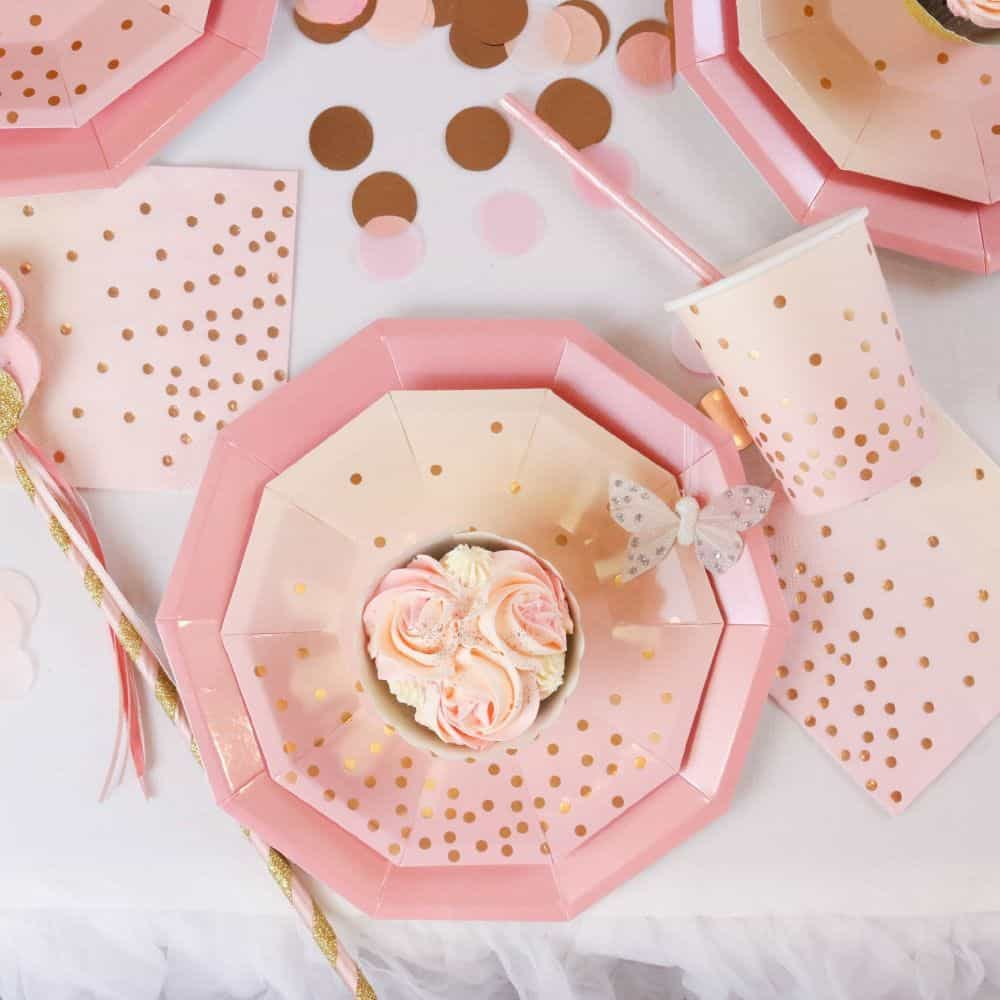 pink and peach paper party supplies - plates, cups and napkins for a bridal shower or birthday party