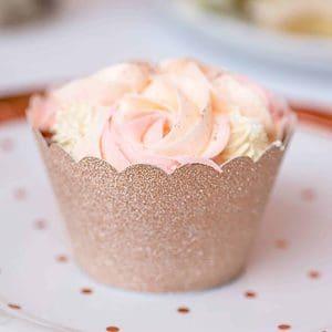 Rose gold glitter cupcake wrapper