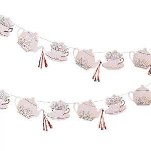 Rose gold floral tea pot and tea cup tea party garland