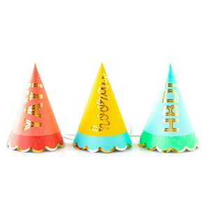 These bright colors and gold foiled hats are perfect for birthday parties or any special celebration! The perfect size for kids! Fun for adults!