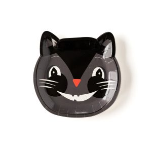 Black Cat Vintage Halloween Paper Plates